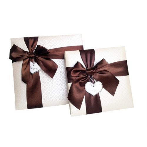 Коробка квадрат Набор Изящный подарок с бантом Кофе с молоком 15х15х4 см