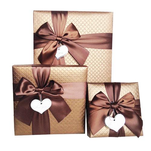 Коробка квадрат Набор Изящный подарок с бантом Шоколад 19х19х4 см