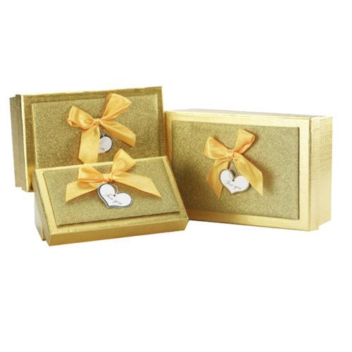 Коробка прямоугольник Богатства и процветания Золотой 21х14х7 см