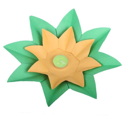 Плавающий фонарик d 28 см Лотос зеленый + желтый