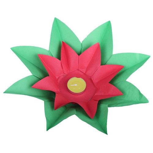Плавающий фонарик d 28 см Лотос зеленый + красный