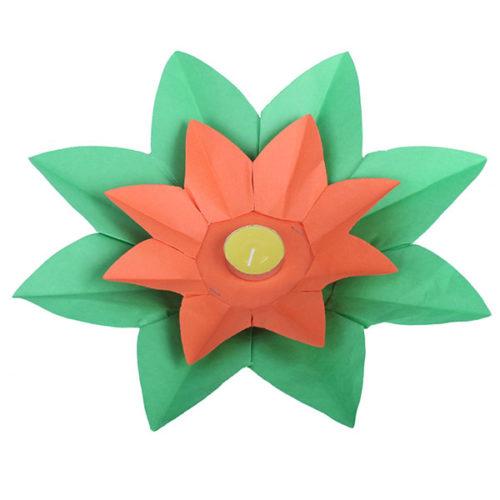 Плавающий фонарик d 28 см Лотос зеленый + оранжевый