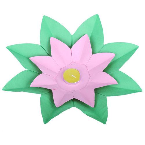 Плавающий фонарик d 28 см Лотос зеленый + розовый