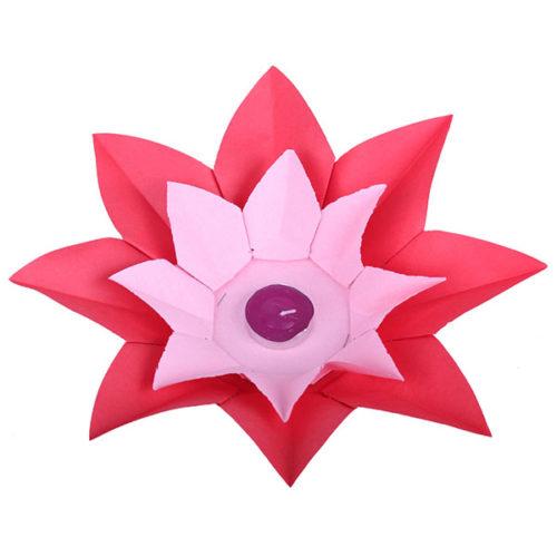 Плавающий фонарик d 28 см Лотос красный + розовый