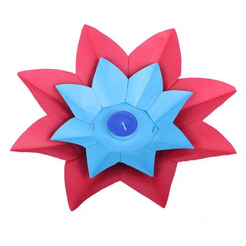 Плавающий фонарик d 28 см Лотос красный + синий
