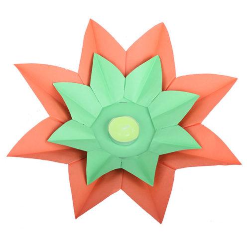 Плавающий фонарик d 28 см Лотос оранжевый + зеленый