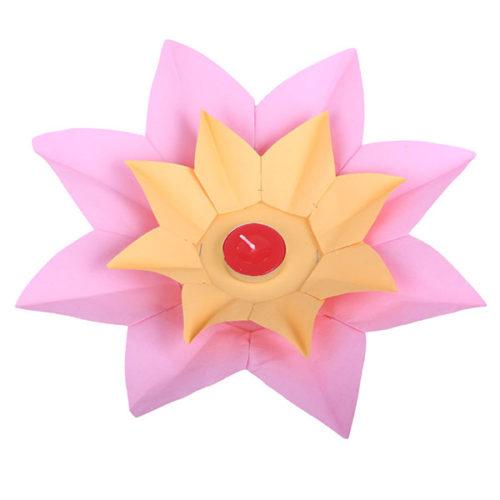 Плавающий фонарик d 28 см Лотос розовый + желтый