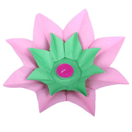 Плавающий фонарик d 28 см Лотос розовый + зеленый