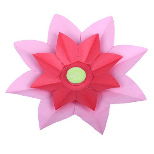 Плавающий фонарик d 28 см Лотос розовый + красный