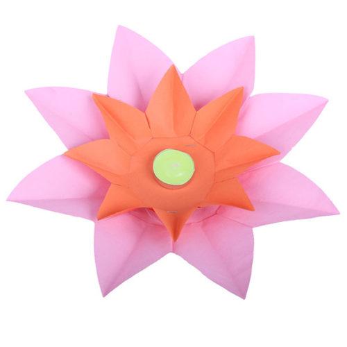 Плавающий фонарик d 28 см Лотос розовый + оранжевый