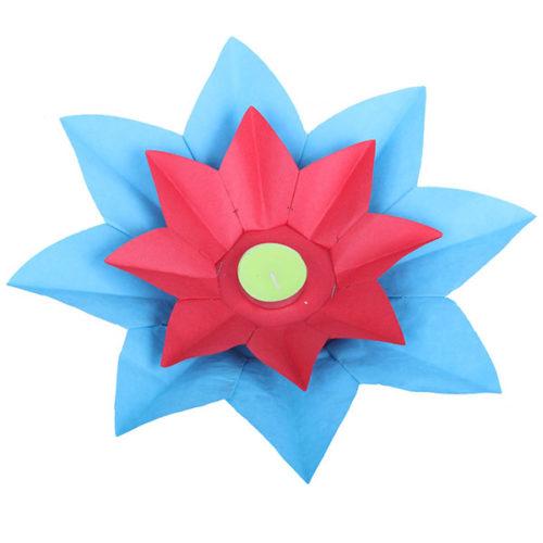 Плавающий фонарик d 28 см Лотос синий + красный