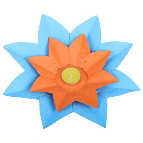 Плавающий фонарик d 28 см Лотос синий + оранжевый