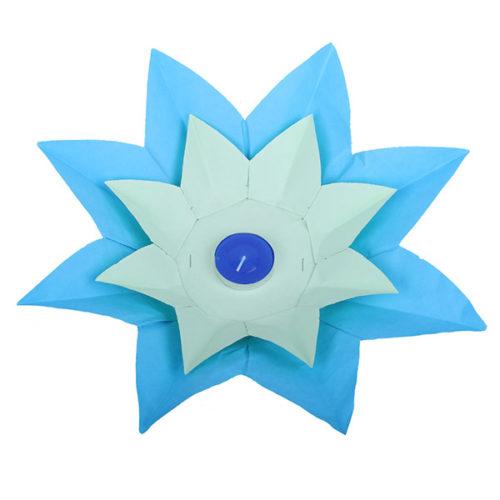 Плавающий фонарик d 28 см Лотос синий + салатовый