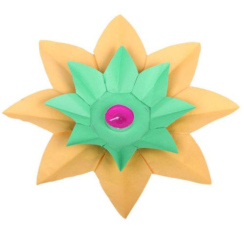 Плавающий фонарик d 28 см Лотос ярко-желтый + зеленый