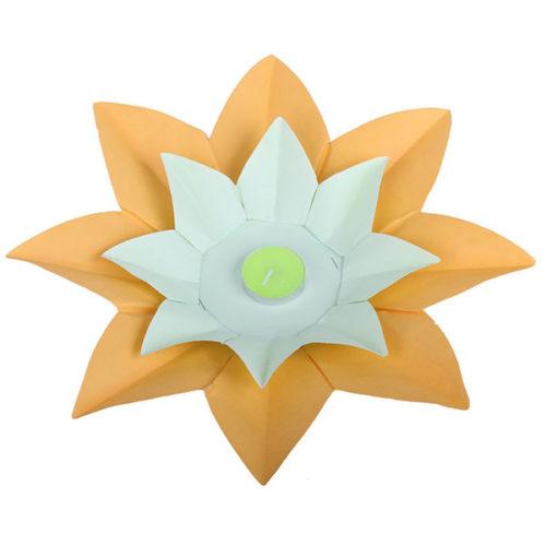 Плавающий фонарик d 28 см Лотос ярко-желтый + салатовый