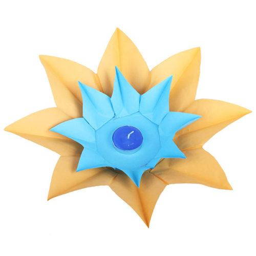 Плавающий фонарик d 28 см Лотос ярко-желтый + синий