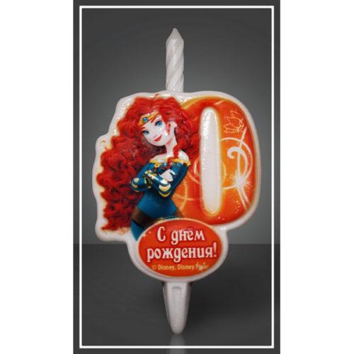 Свеча Цифра 0 Disney Принцесса Мерида 12 см