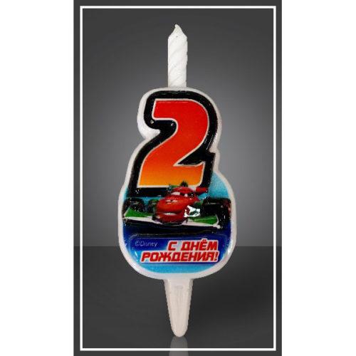 Свеча Цифра 2 Disney Тачки 12,5 см