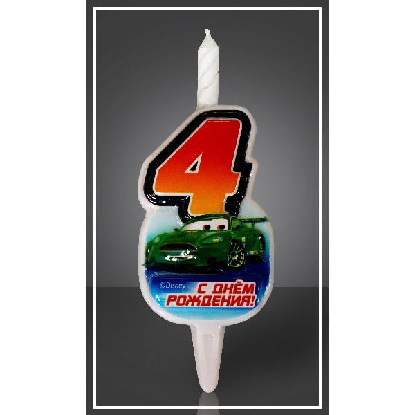Свеча Цифра 4 Disney Тачки 12,5 см