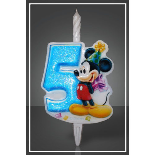 Свеча Цифра 5 Disney Микки Маус 12 см