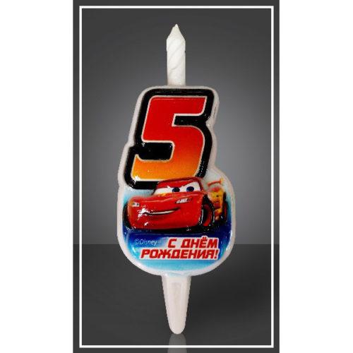 Свеча Цифра 5 Disney Тачки 12,5 см