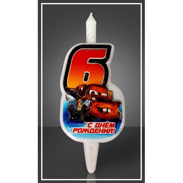 Свеча Цифра 6 Disney Тачки 12,5 см
