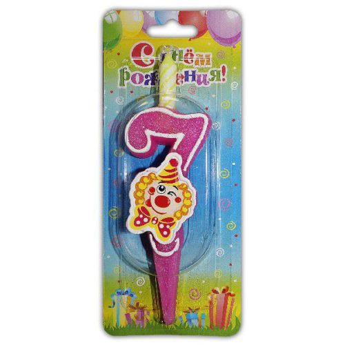 Свеча Цифра 7 С клоуном 12 см
