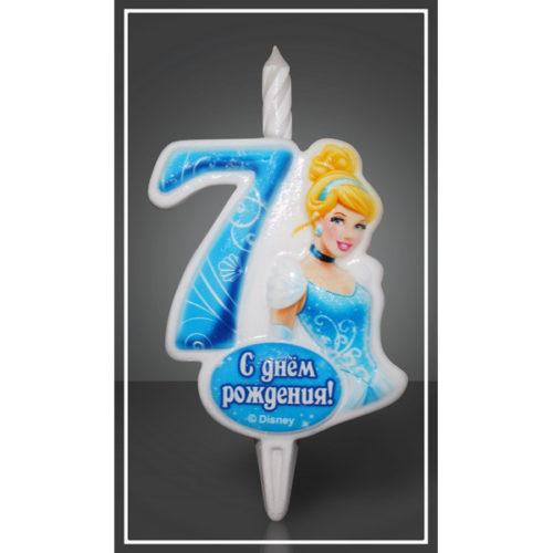 Свеча Цифра 7 Disney Принцесса Золушка