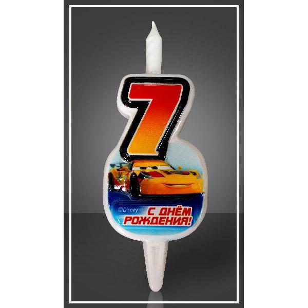 Свеча Цифра 7 Disney Тачки 12,5 см