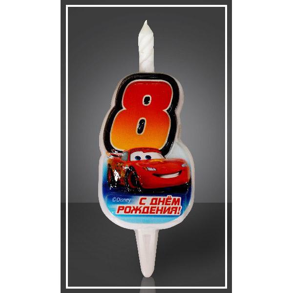 Свеча Цифра 8 Disney Тачки 12,5 см