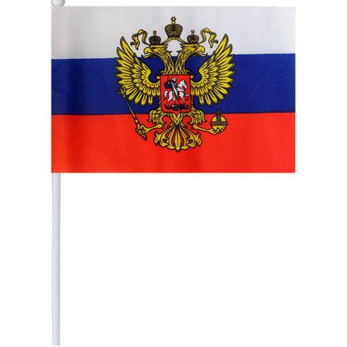Флаг Россия с гербом 14 х 20 см