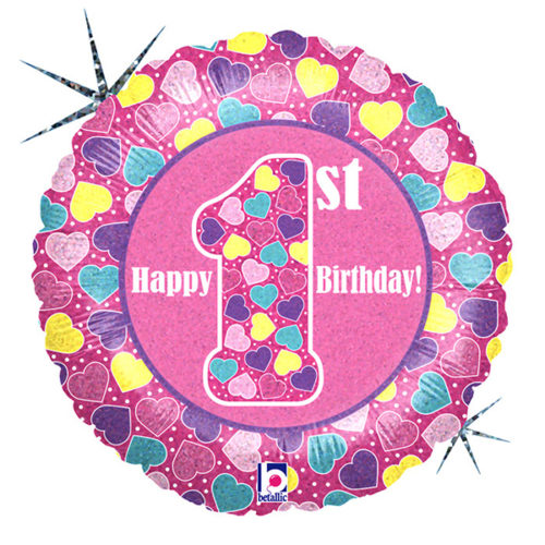 Шар 46 см Круг Первый День рождения Девочка Голография