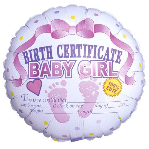Шар 46 см Круг Сертификат о рождении девочки