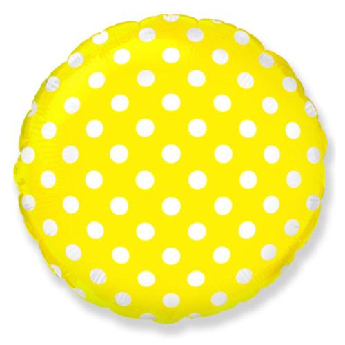 Шар 46 см Круг Точки Желтый