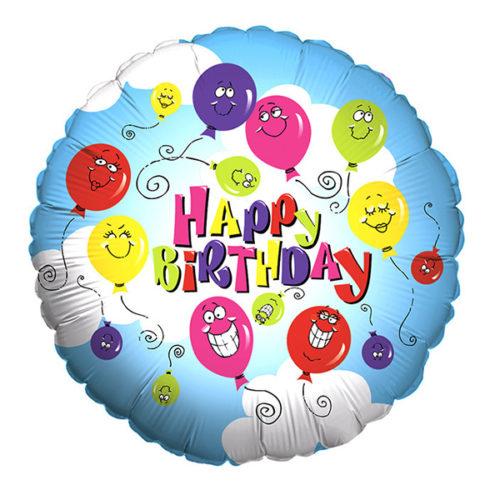 Шар 46 см Круг Улыбающиеся шары С днем рождения