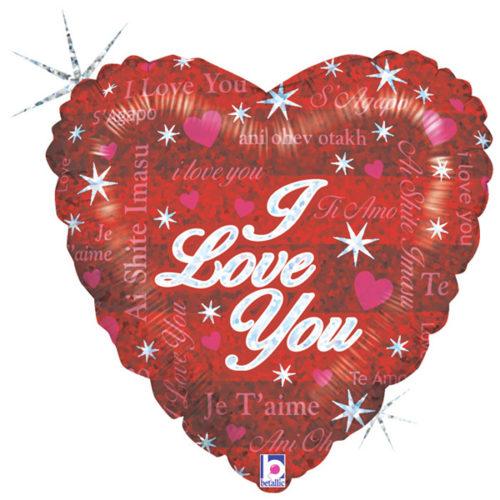 Шар 46 см Сердце Блистательная Любовь Голография