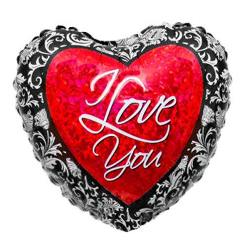 Шар 46 см Сердце Любовь Кованый Голография