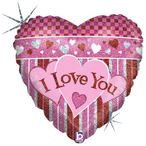 Шар 46 см Сердце Полоса любви Голография