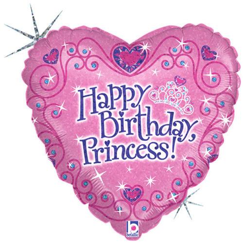 Шар 46 см Сердце Принцесса С днём рождения Голография
