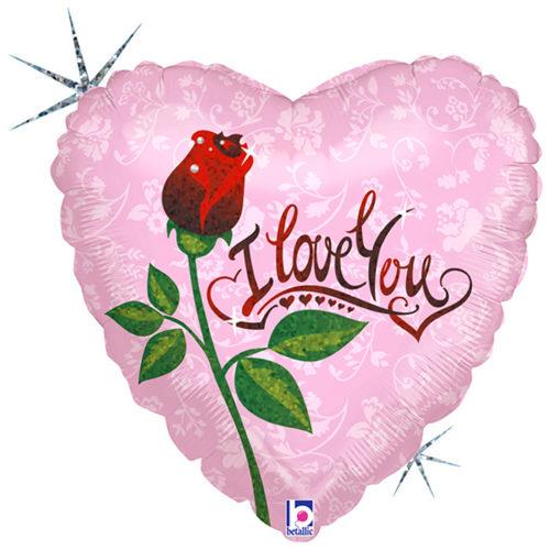 Шар 46 см Сердце Роза Я тебя люблю Голография