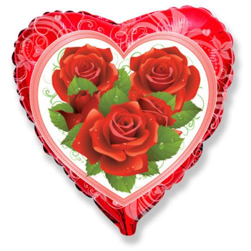 Шар 46 см Сердце Розы Roses