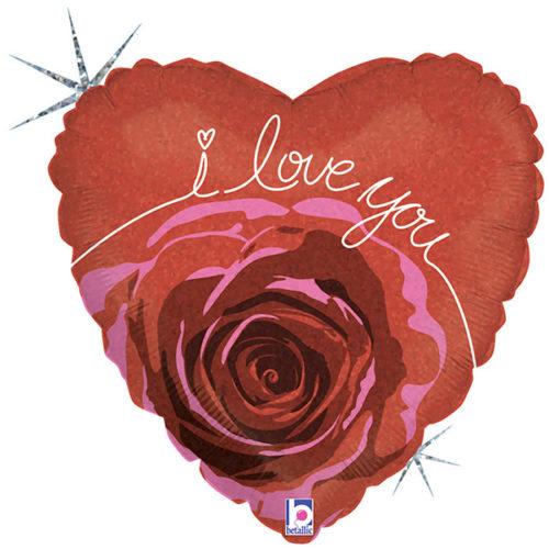 Шар 46 см Цветущая роза Я тебя люблю Голография