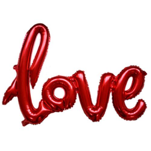 Шар 64 см Фигура Надпись прописью Love Красный