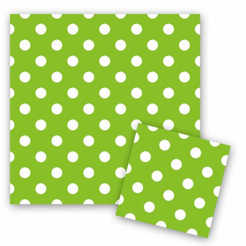 Салфетки 33 см X 33 см Горошек Зеленый 12 штук