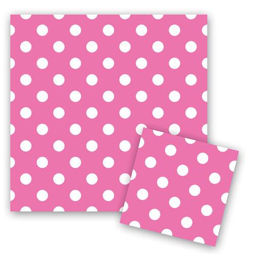 Салфетки 33 см X 33 см Горошек Розовый 12 штук