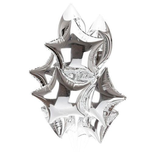 Связка из 10 воздушных шаров серебряных звезд