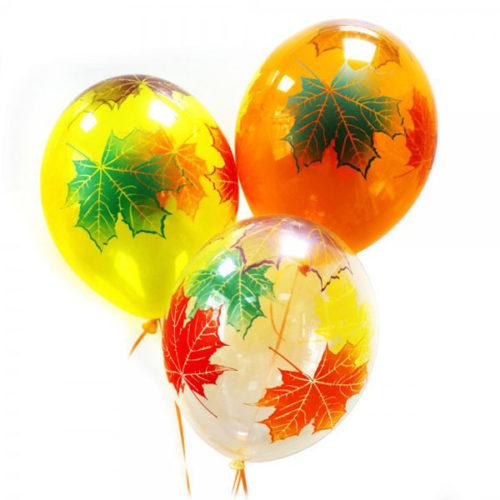 Связка из 3 шаров Осенние листья цветные