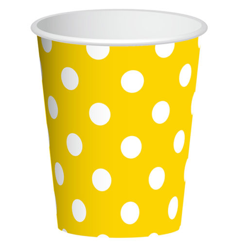 Стаканы бумажные 250 мл Желтый 6 штук