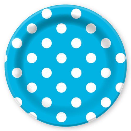 Тарелки бумажные 23 см Горошек Голубой 6 штук