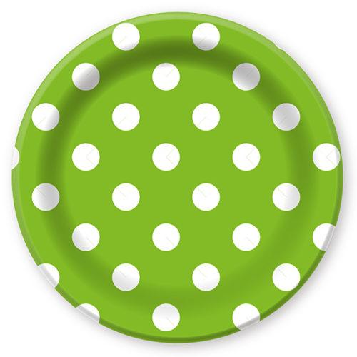 Тарелки бумажные 23 см Горошек Зеленый 6 штук